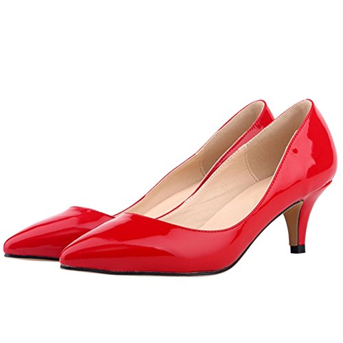 OCHENTA Damen Pumps Keilabsatz Mittelhoch aus PU-Leder mit Bonbonfarben Spitzen Sexy Ohneverschluss Rot