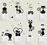 Cat Vinyl Decor Stickers Black Wall Kitty 9 Cats