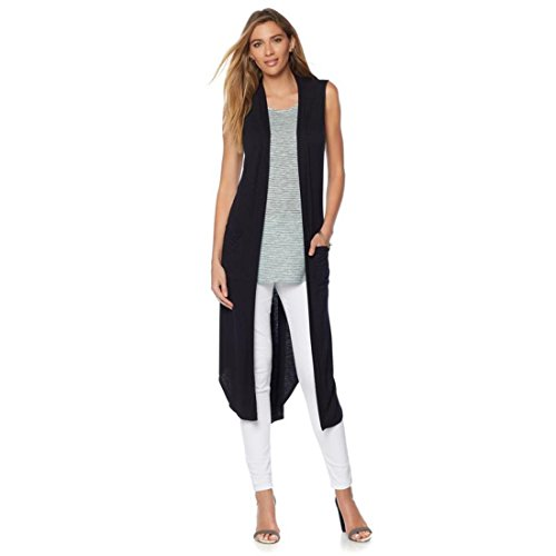V-neck Duster (Giuliana G Slub Jersey Duster Vest Knit Open Front V Neck Black 1X New 547-275)