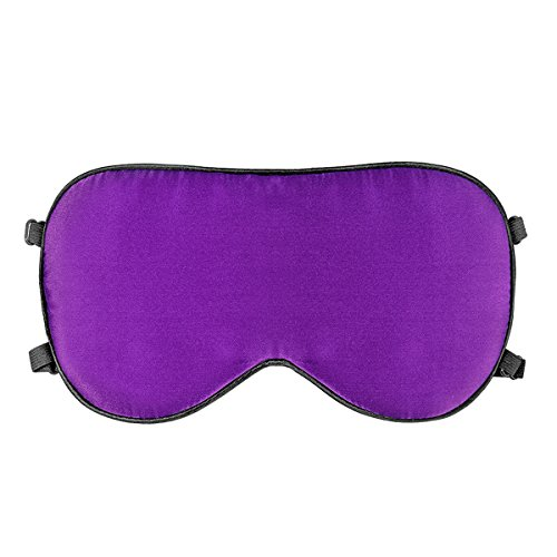 Face Mask Purple Back - Natural Silk Sleep Mask - Super Smooth and Soft Eye Mask with Double Adjustable Strap - Blocks Light When You Nap Any Position,Blindfold Eyeshade for Men Women,Sleeping Aid,Meditation (Purple)