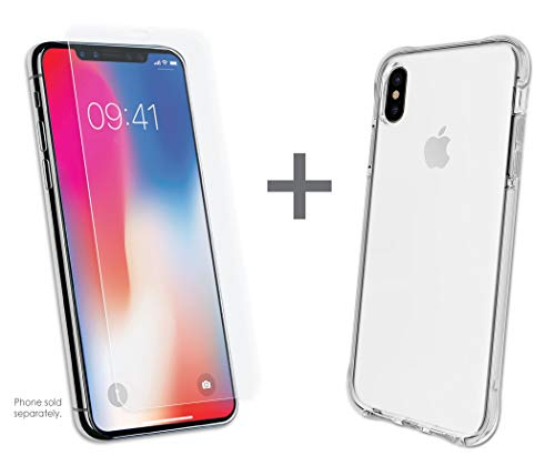 Qmadix iPhone Xs Max C- Series Protective Case-Wireless Charging Compatible + Invisible First Defense Tempered Glass -9H Hardness Bundle Kit