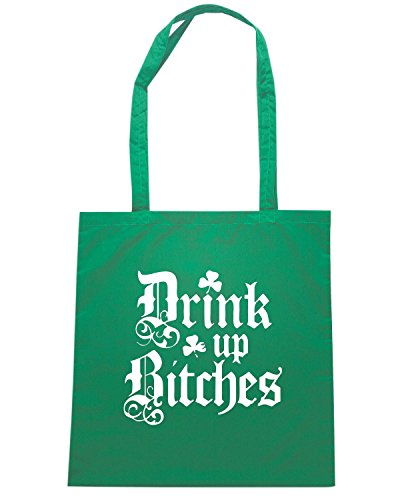 T-Shirtshock - Bolsa para la compra TIR0035 drink up bitches funny irish dark tshirt Verde