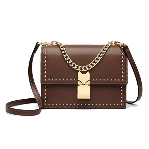 Brown versin Mini The Rivet Mujer Cuadrado de Salvaje Coreana Color Bolso Brown Simple para Uwag7