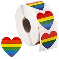 SAVITA 1000 Pieces Gay Pride Stickers Heart-Shaped Love Rainbow Stickers Stripe Stickers on a Roll
