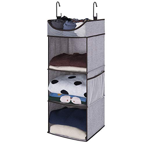 StorageWorks Hanging Closet Organizer,Dorm 3 Shelves with Thickened Board, Gray, Extra-Large Space, ()