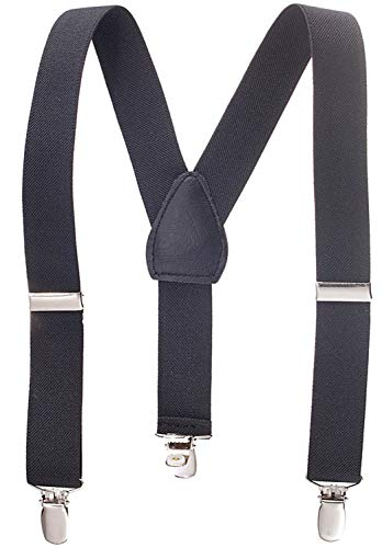 Solid Color Kids and Baby Elastic Adjustable Suspenders -Black (Size 22