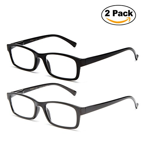 Newbee Fashion - Unisex Clear Lens Slim Light Weight Plastic Small Rectangular Frame Clear Lens Glasses with Spring Temple Clark Kent - Frame Small Glasses