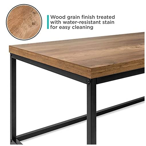 Living Room Best Choice Products 44in Modern Industrial Style Rectangular Wood Grain Top Coffee Table, Accent Furniture for Living… modern coffee tables