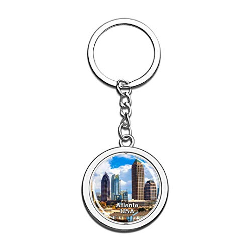 USA United States Keychain Atlanta Key Chain 3D Crystal Spinning Round Stainless Steel Keychains Travel City Souvenirs Key Chain Ring -