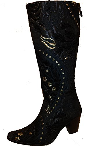 Tharp zipper boot tapestry side black fashion Rockwell with print BxqdvBw8