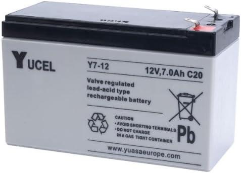 Batería Yucel Y7-12 7Ah 12V (Equivalente NP7-12 Yuasa)(151mm*65mm*94mm) Para Alarma, SAIs (UPS), luces de emergencia...