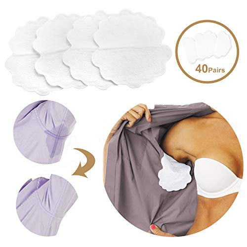 Phogary Underarm Sweat Pads 40 Pair, 80 Pieces Disposable Armpit No Sweat Dress Shields Large Size Antiperspirant Adhesive Underarm Pads Odor Blocker for Man and Women