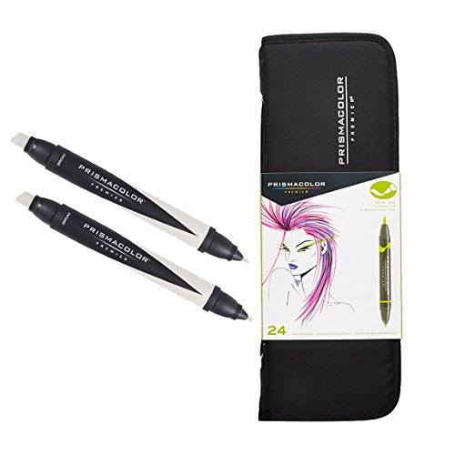 Prismacolor Premier 24-Count Double-Ended Art Markers with Carrying Case and Colorless Blender Marker Set by Prismacolor