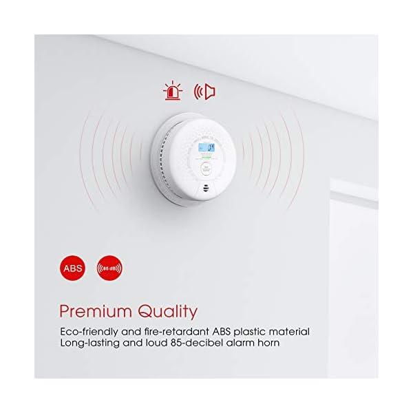 41qMsv3cQOL X-Sense Rauch- Kohlenmonoxid Melder 10-Jahres-Rauch- und CO-Alarm, mit LCD Anzeige und Prüftaste, geprüft nach DIN…