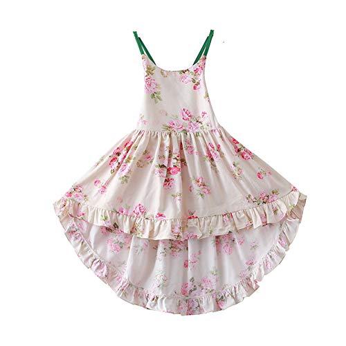 Bcaur Girls' 2T-12 Cotton Floral Dress Summer Backless Casual Sundress (7-8, Green)