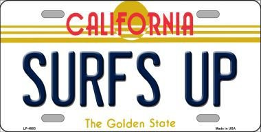 Smart Blonde LP-4903 Surfs Up California Novelty Metal License Plate