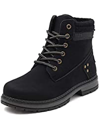 Women Fur Lined Combat Boots Lace up Ankle Boots Winter Warm Booties
