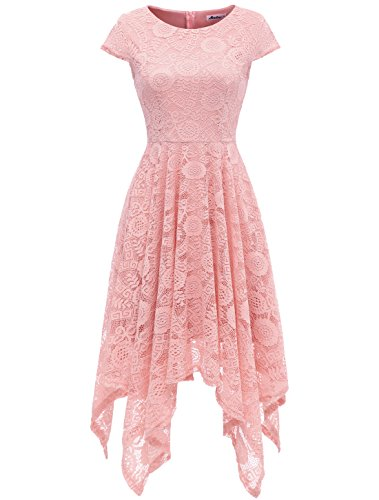 AONOUR AR8009 Women's Floral Lace Cap Sleeve Handkerchief Hem Cocktail Party Swing Dress Blush -