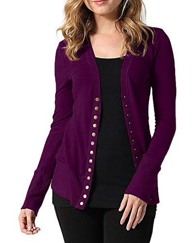 Cnfio Womens Long Sleeve Knit Button Down Cardigan V-Neck Basic Knitwear Sweater Claret XL ()