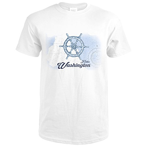 Forks Washington (Forks, Washington - Ship Wheel - Blue - Coastal Icon (Premium White T-Shirt X-Large))