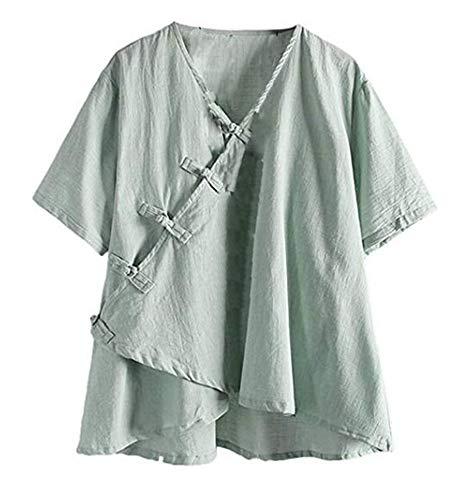 Vert en Hellomiko Manches Chemises pour Courtes Lin Femme xA71Aq