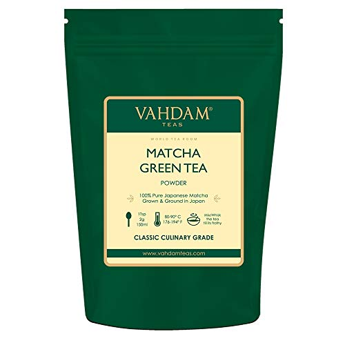 VAHDAM, Matcha Green Tea Powder SUPERFOOD (100 Servings) 100% Pure Authentic Japanese Matcha Powder | Classic Culinary Grade Green Tea Matcha  137x Anti-OXIDANTS | Matcha Latte Mix & Smoothies from VAHDAM