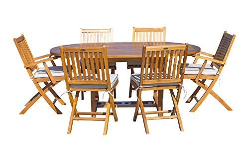 7 Piece Teak Wood Santa Barbara Patio Dining Set with Round to Oval Extension Table, 2 Arm Chairs and 4 Side Chairs with Cushions, Made from Solid A-Grade Teak Wood (Oval Dining Round To Table Extends)
