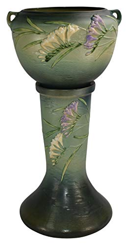 Roseville Pottery Freesia Green Ceramic Jardiniere and Pedestal 669-8