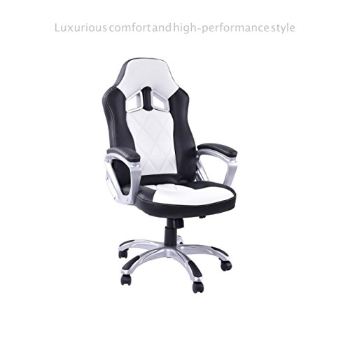 Style Seat Upholstery - Modern Racing Style High Back Gaming Chair Comfortable Bucket Seat Swivel Desk Task Smooth Adjustable Height PU Leather Upholstery Heavily Padded Seat Posture Support Home Office Furniture #1705wh