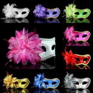 (Mix Color 10pc/lot Flower Feather Halloween Christmas Sequin Venetian Mardi Gras Masquerade Fancy Mask)