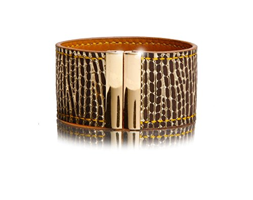 Calfskin Leather Metallic (Leather Cuff Bracelet in Chocolate Brown with Gold Metallic Embossed Pattern - Gold Color Magnetic Clasp)
