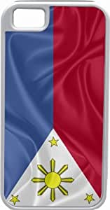 Rikki KnightTM Philippines Flag White Tough-It Case Cover for iPhone 5 & 5s(Double Layer case with Silicone Protection)