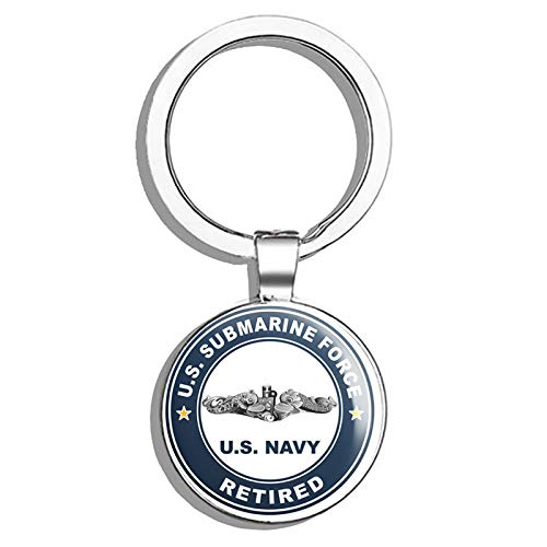 (HJ Media US Navy US Submarine Force Retired Silver Dolphins Military Veteran USA Pride Served Metal Round Metal Key Chain Keychain Ring)