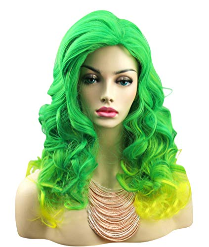 ACE SHOCK Cosplay Wig Women Green/Yellow, Synthetic Long Curly Gradient Halloween Costume Hairpiece (One Size)