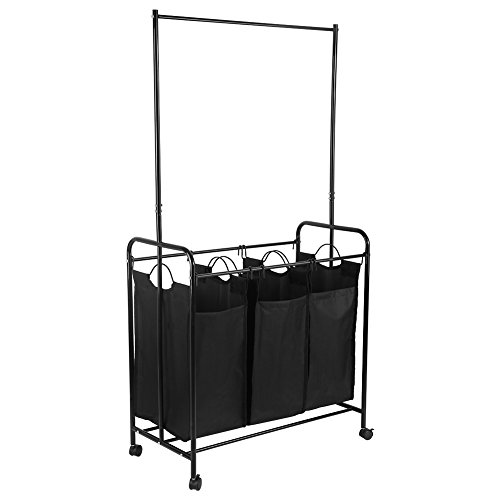 GOTOTOP 3-Bag Laundry Sorter with Hanging Bar, Heavy-Duty Rolling Laundry Hamper Sorter Cart with Lockable Wheels (Black)