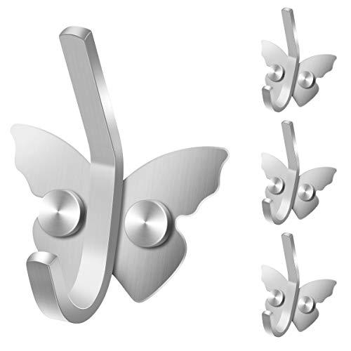 Decorative Wall Hook Coat Hooks Butterfly Design Wall Mounted Metal Hooks Coat Hanger 4PCS
