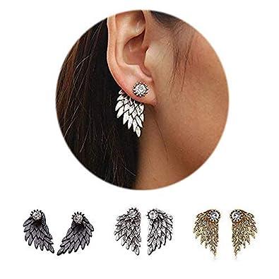 24a737f0c Jacket Earrings Ear Stud for Teen Girls,Angel Wings Ear Crawler Earrings  Vintage