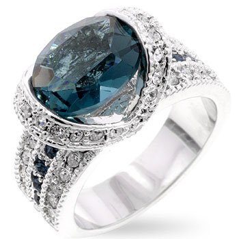 Silver Moon Bay The Princess Ring, Triple Set with Clear Oval and Round Teal Cut Crystals, Gift Boxed - Size 8