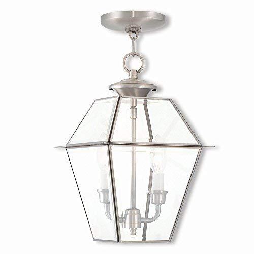 Livex Lighting 2285-91 Westover 2 Light BN Outdoor Chain-Hang Lantern, Brushed Nickel