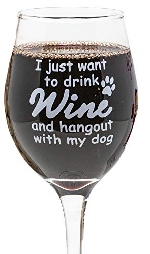 Funny Guy Mugs I Just Want To Drink Wine And Hangout With My Dog Wine Glass, 11-Ounce - Unique Gift for Women, Mom, Daughter, Wife, Aunt, Sister, Girlfriend, Teacher (Several Styles To Choose From)