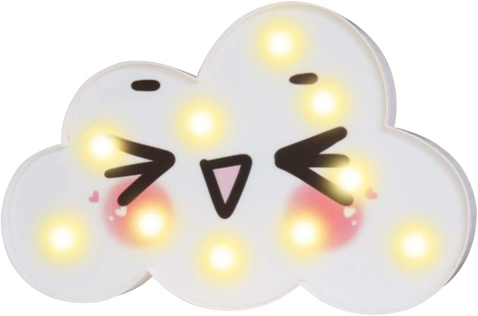 Cute Cloud LED Night Lights, Emoji Face Marquee Cloud Signs, Battery Operated Warm Lighting Girl's Gift Toy Home Decor for Girls, Kids, Baby, Nursery, Living Room Dorm (Wink Cloud)
