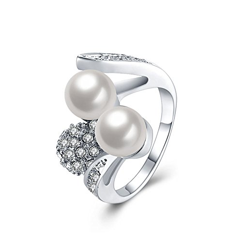 [Finger Rings Angela_max Platinum Circle Imitation Pearl Double Layer Ring Fashion Jewelry for Women Mother's Day Gift Size] (The Office Angela Costume)