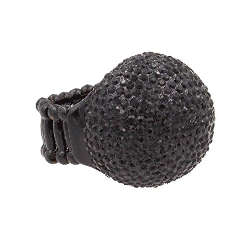 Lavencious Snowball Rhinestone Cocktail Stretch Ring Party Ring for Women (Jet Black)
