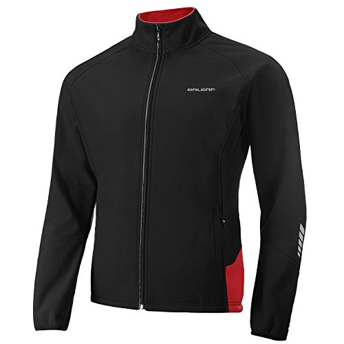 BALEAF Men's Softshell Cycling Jacket Water-Repellent Windbreaker Winter Thermal Fleece Jacket Size L (Best Softshell Cycling Jacket)