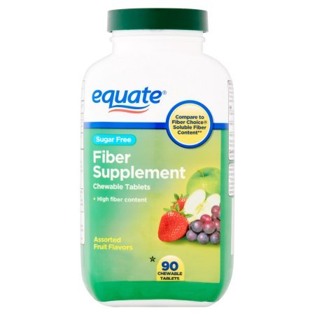 Equate Sugar Free Fiber Supplement Chewable Assorted Fruit Tablets, 90 Ct