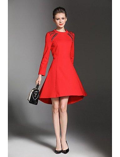 Mujer Rojo De Con Encima Partido Fiesta Mujer De Largas Cuello Una La Vestido Vestido Fiesta Rodilla JIALELE De Por Redondo La Línea De Mangas qfvwg8f