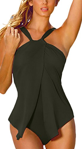 Knight Horse Womens Halter Wrap Slit Front Padded One Piece Swimsuit Bathing Suits Black M