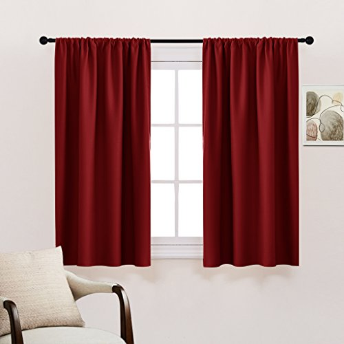 Bedroom Blackout Window Curtain Panels - New Year Home Decor Blackout Curtains / Window Covering / Drapes with Rod Pocket Top for Kitchen by PONY DANCE, 42