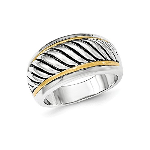 Antiqued Silver Tone Ring (Sterling Silver Two-Tone Antiqued Ring - Size 8)