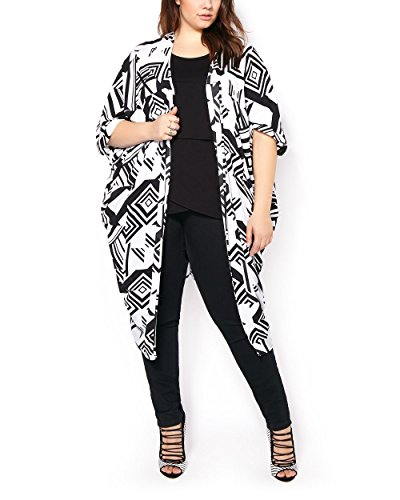 Penningtons Womens Plus Size Short Dolman Sleeve Printed Kimono White X/1X